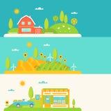 Rolnictwo i Uprawiać ziemię Horyzontalnych sztandary Ustawiających Zdjęcia Royalty Free