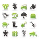 Rolnictwo i uprawiać ziemię ikony Obrazy Royalty Free