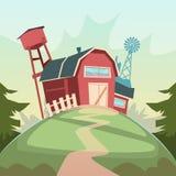 Rolnictwo I Uprawiać ziemię, stajnia budynku pola ziemi uprawnej wsi krajobraz royalty ilustracja