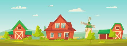 Rolnictwo Rolny wiejski krajobraz z czerwoną stajnią, domem i rancho, royalty ilustracja