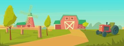 Rolnictwo Rolny wiejski krajobraz z czerwon? stajni?, ci?gnikiem i wiatraczkiem, ilustracji