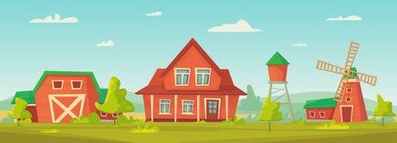 Rolnictwo Rolny wiejski krajobraz z czerwon? stajni?, dom, rancho, wie?a ci?nie? i haystack, royalty ilustracja