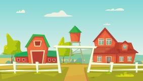 Rolnictwo Rolny wiejski krajobraz z czerwon? stajni?, dom, rancho, wie?a ci?nie? i haystack, ilustracji