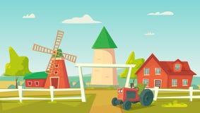 Rolnictwo Rolny wiejski krajobraz z czerwonym wiatraczkiem i ciągnikiem royalty ilustracja