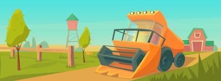 Rolnictwo Rolny wiejski krajobraz z, wieża ciśnień, i ilustracja wektor