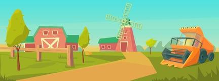 Rolnictwo Rolny wiejski krajobraz z, wieża ciśnień, i royalty ilustracja