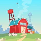 Rolnictwo Uprawia ziemię, stajnia budynku pola ziemi uprawnej wsi krajobraz royalty ilustracja