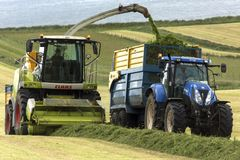 Rolnictwo - zbierać trawy dla kiszonki obrazy royalty free