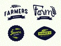 Rolnicy wprowadzać na rynek logo szablonów wektorowych przedmioty ustawiających royalty ilustracja