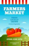 Rolnicy wprowadzać na rynek plakat ilustracja wektor