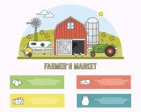 Rolnicy wprowadzać na rynek wektorową ilustrację w liniowym stylu Fotografia Royalty Free