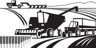 Rolnicza maszyneria w polu ilustracji