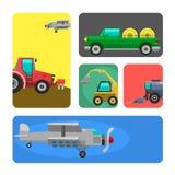 Rolnicza pojazd kart żniwiarza maszyna i ekskawator ikona ustawiająca łączymy z akcesoriami dla orać kośbę ilustracja wektor