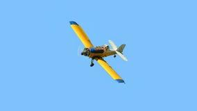 Rolniczy żółty samolot Fotografia Royalty Free