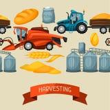Rolniczy bezszwowy wzór z zbierać rzeczy Syndykata żniwiarz, ciągnik i świron, ilustracja wektor