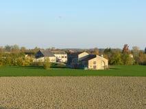 Rolniczy gospodarstwo rolne wzdłuż banków Po rzeka w Po V Obrazy Royalty Free