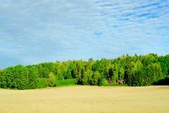 Rolniczy pola z rolnika domem w lasu pasku szarobłękitnym chmurnym niebie i obraz stock