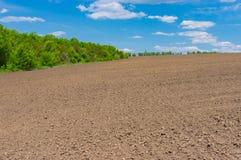 Rolniczy pole przed młodymi uprawami wchodzić na górę Zdjęcia Royalty Free