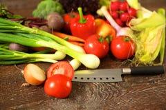 rolników świeżego rynku stołu warzywa drewniani zdrowa żywność dieta Zdjęcie Royalty Free
