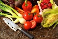 rolników świeżego rynku stołu warzywa drewniani zdrowa żywność dieta Obrazy Royalty Free