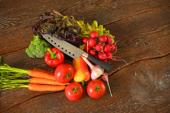rolników świeżego rynku stołu warzywa drewniani zdrowa żywność dieta Zdjęcia Stock