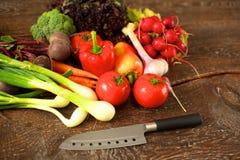 rolników świeżego rynku stołu warzywa drewniani zdrowa żywność dieta Fotografia Royalty Free