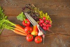 rolników świeżego rynku stołu warzywa drewniani zdrowa żywność dieta Obraz Stock
