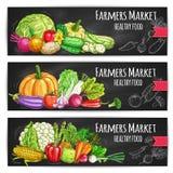 Rolników warzyw targowy wektor kreślił sztandary Zdjęcie Stock