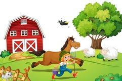 Rolnik i koń Fotografia Royalty Free