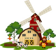 Rolnik i krowa przy gospodarstwem rolnym Fotografia Stock