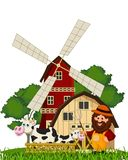 Rolnik i krowa przy gospodarstwem rolnym Zdjęcie Royalty Free