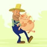 Rolnik i świnia Zdjęcia Stock