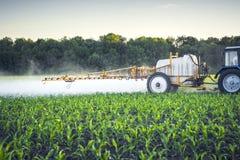 rolnik na ciągniku z ciągniętą natryskownicą robi użyźniaczowi dla młodej kukurudzy w postaci microdroplets zdjęcia stock