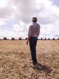 Rolnik organizuje soj zbierać Fotografia Royalty Free