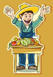 Rolnik przy rynkiem ilustracja wektor