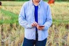 Rolnik używa cyfrowego telefon w kultywującym ryżu polu Obraz Royalty Free