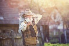 Rolnik z dojnym czajnikiem zdjęcie stock