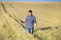 Rolnik z pastylką w pszenicznym polu Obrazy Royalty Free