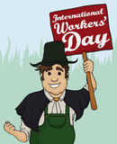 Rolnik z sztandarem dla pracownika dnia świętowania, Wektorowa ilustracja Fotografia Royalty Free