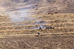 Rolnika gromadzenie się przy ogieniem w polu Obrazy Stock