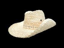 Rolnika kapelusz odizolowywa na czerni Obrazy Stock