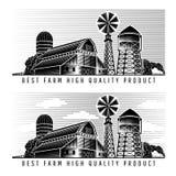 Rolny świron i wieża ciśnień z retro stylem wiatrowego młynu i nieba ilustracji