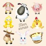 Rolny życie Kreskówki zabawy zwierzęta gospodarskie ustawiający Wektorowa ilustracja, odizolowywająca na białym tle Obraz Stock