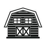 Rolny dom w czarnym prostym stylu odizolowywającym na białym tle Zdjęcie Royalty Free