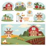 Rolny gospodarstwo domowe lub rolnika rolnictwo uprawia ziemię wektorowego płaskiego projekt bydło i ilustracja wektor