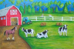 Rolny kraj z zwierzę krajobrazem Obraz Royalty Free