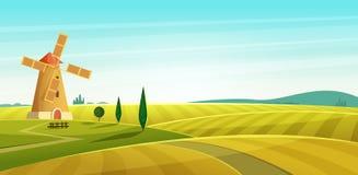 Rolny krajobraz, wiatraczek na polu, Wiejska wieś Kreskówki nowożytna stylowa wektorowa ilustracja royalty ilustracja