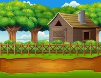 Rolny krajobraz z jatą i zielonymi roślinami ilustracji