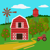 Rolny krajobraz z stajnia wiatraczkiem i ciągnikiem royalty ilustracja