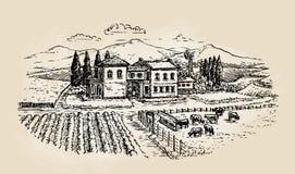 Rolny nakreślenie Uprawiać ziemię, rolnictwo, winnica lub zwierzęcy husbandry, również zwrócić corel ilustracji wektora ilustracja wektor